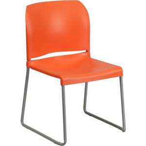 Wholesale HERCULES Series 880 lb. Capacity Orange Full Back Contoured Stack Chair with Sled Base