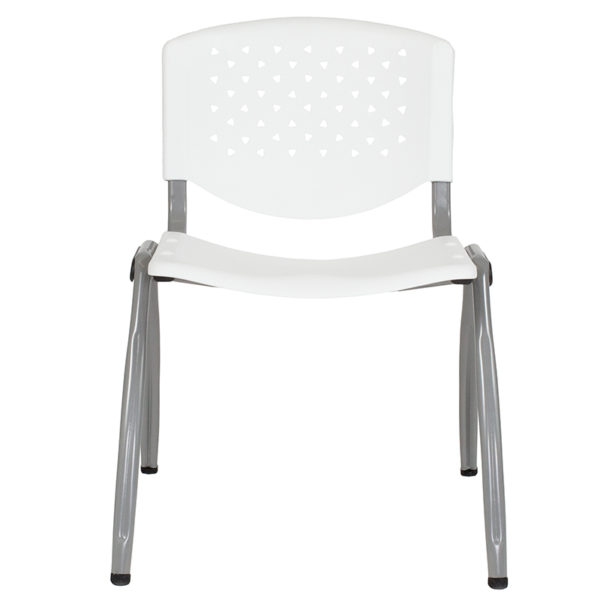 Lowest Price HERCULES Series 880 lb. Capacity White Plastic Stack Chair with Titanium Frame