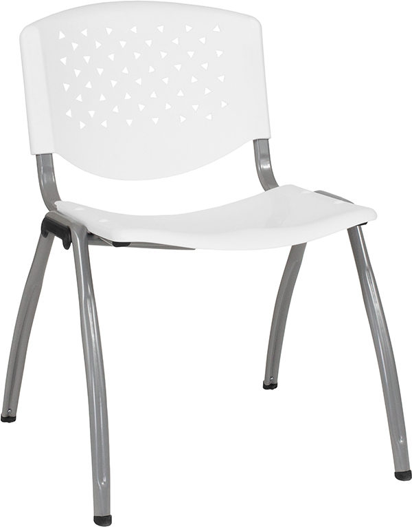 Wholesale HERCULES Series 880 lb. Capacity White Plastic Stack Chair with Titanium Frame