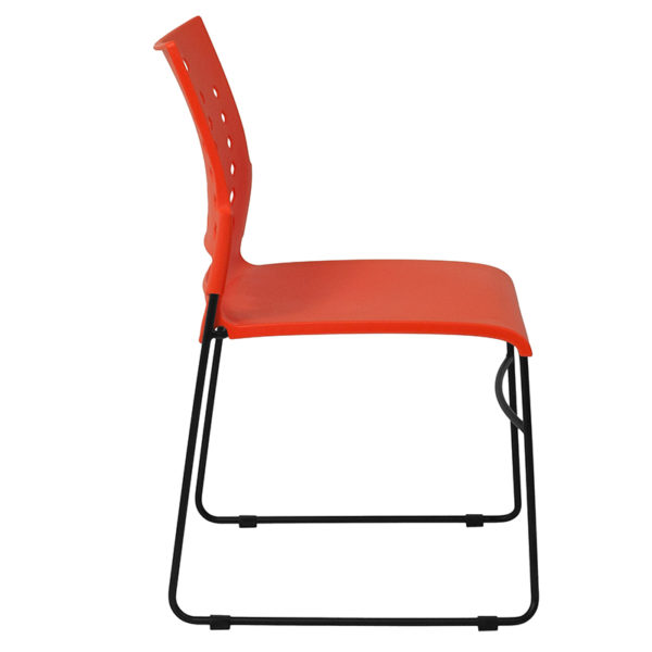Lowest Price HERCULES Series 881 lb. Capacity Orange Sled Base Stack Chair with Air-Vent Back