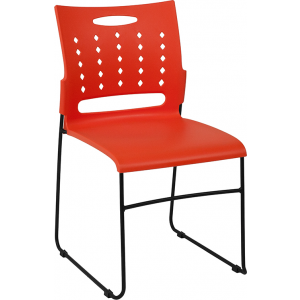 Wholesale HERCULES Series 881 lb. Capacity Orange Sled Base Stack Chair with Air-Vent Back