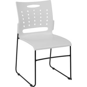 Wholesale HERCULES Series 881 lb. Capacity White Sled Base Stack Chair with Air-Vent Back
