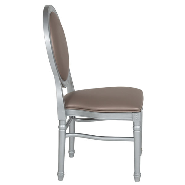 Classic Style Taupe Round Back Dining Chair