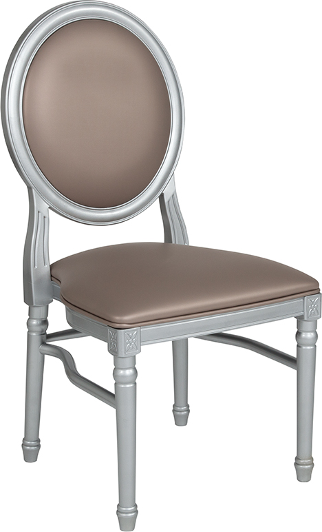 Wholesale HERCULES Series 900 lb. Capacity King Louis Chair with Taupe Vinyl Back and Seat and Silver Frame