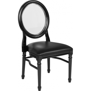 Wholesale HERCULES Series 900 lb. Capacity King Louis Chair with Transparent Back