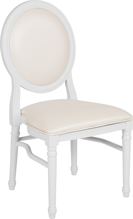 Wholesale HERCULES Series 900 lb. Capacity King Louis Chair with White Vinyl Back and Seat and White Frame