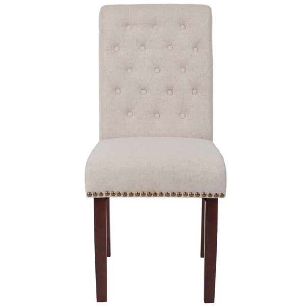 Mid-Century Style Beige Fabric Parsons Chair