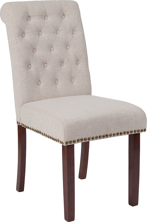 Wholesale HERCULES Series Beige Fabric Parsons Chair with Rolled Back