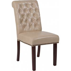 Wholesale HERCULES Series Beige Leather Parsons Chair with Rolled Back