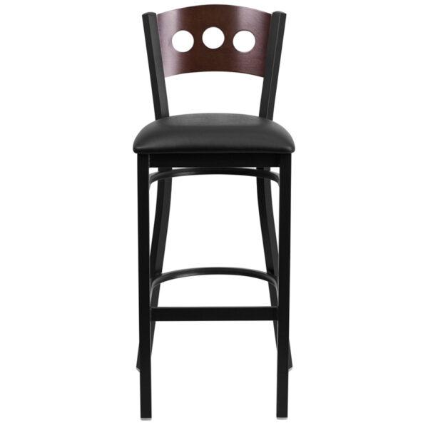 Metal Dining Bar Stool Bk/Wal 3 Circ Stool-Black Seat