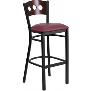 Wholesale HERCULES Series Black 3 Circle Back Metal Restaurant Barstool - Walnut Wood Back