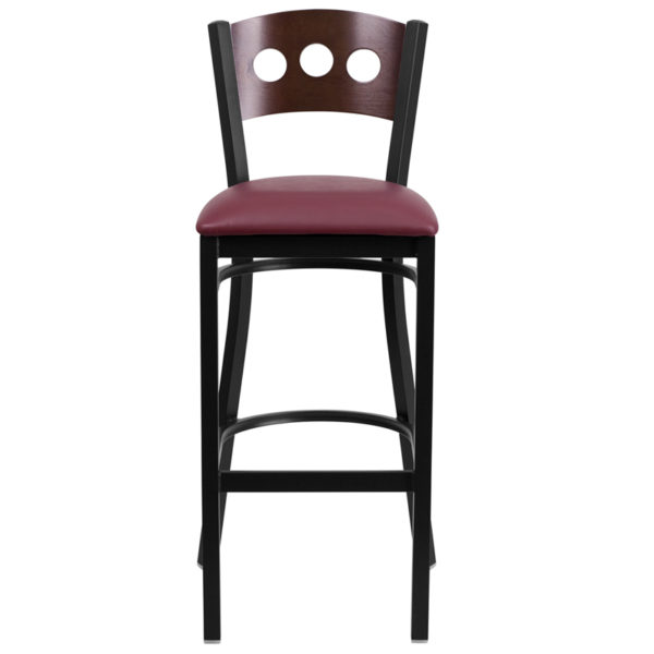 Metal Dining Bar Stool Bk/Wal 3 Circ Stool-Burg Seat