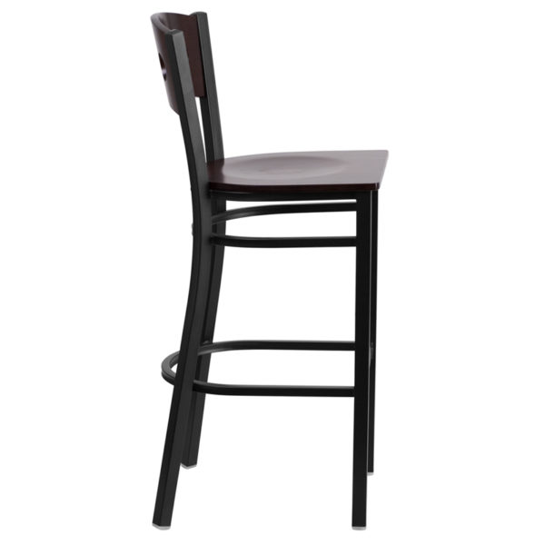 Lowest Price HERCULES Series Black 3 Circle Back Metal Restaurant Barstool - Walnut Wood Back & Seat