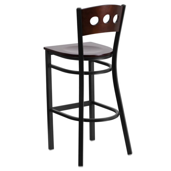 Metal Dining Bar Stool Bk/Wal 3 Circ Stool-Wood Seat