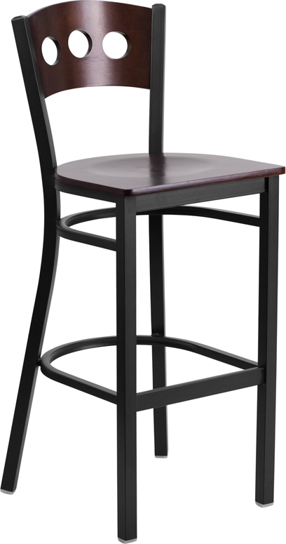 Wholesale HERCULES Series Black 3 Circle Back Metal Restaurant Barstool - Walnut Wood Back & Seat