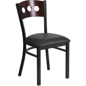 Wholesale HERCULES Series Black 3 Circle Back Metal Restaurant Chair - Walnut Wood Back