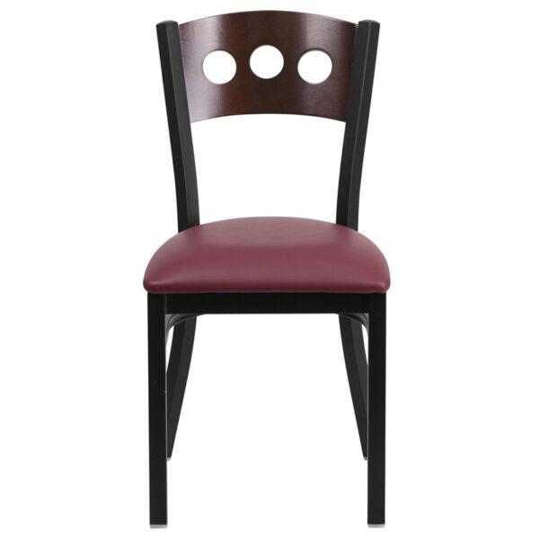 Metal Dining Chair Bk/Wal 3 Circ Chair-Burg Seat