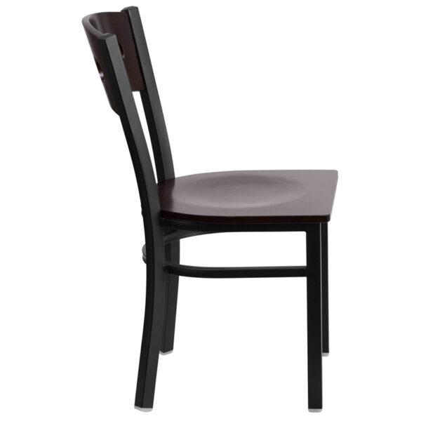 Lowest Price HERCULES Series Black 3 Circle Back Metal Restaurant Chair - Walnut Wood Back & Seat