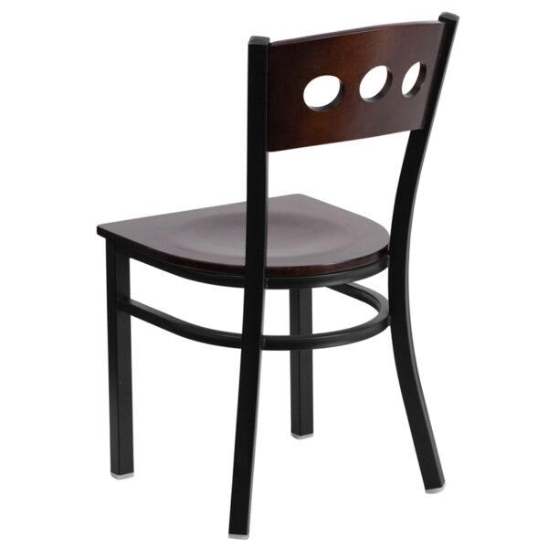Metal Dining Chair Bk/Wal 3 Circ Chair-Wood Seat