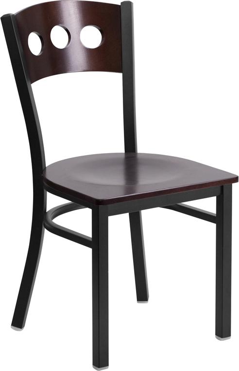 Wholesale HERCULES Series Black 3 Circle Back Metal Restaurant Chair - Walnut Wood Back & Seat