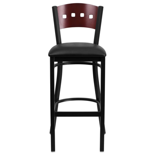 Metal Dining Bar Stool Bk/Mah 4 Sqr Stool-Black Seat