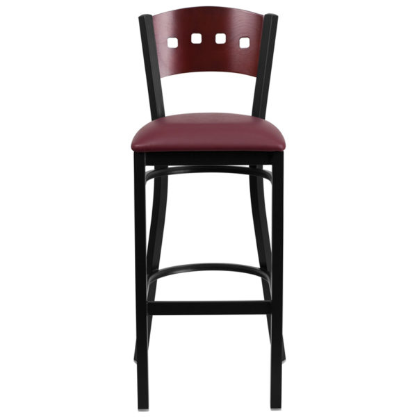 Metal Dining Bar Stool Bk/Mah 4 Sqr Stool-Burg Seat