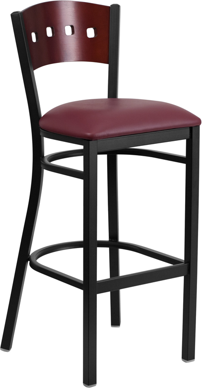Wholesale HERCULES Series Black 4 Square Back Metal Restaurant Barstool - Mahogany Wood Back