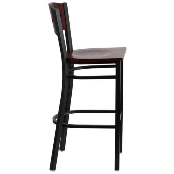 Lowest Price HERCULES Series Black 4 Square Back Metal Restaurant Barstool - Mahogany Wood Back & Seat