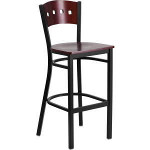 Wholesale HERCULES Series Black 4 Square Back Metal Restaurant Barstool - Mahogany Wood Back & Seat