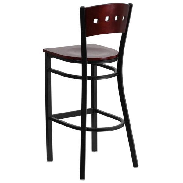 Metal Dining Bar Stool Bk/Mah 4 Sqr Stool-Wood Seat