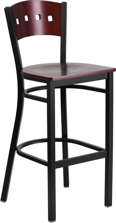 Wholesale HERCULES Series Black 4 Square Back Metal Restaurant Barstool - Mahogany Wood Back & Seat