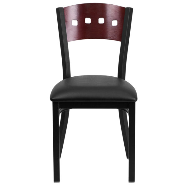 Metal Dining Chair Bk/Mah 4 Sqr Chair-Black Seat