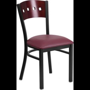 Wholesale HERCULES Series Black 4 Square Back Metal Restaurant Chair - Mahogany Wood Back