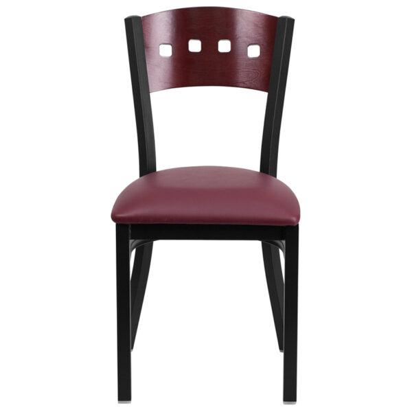 Metal Dining Chair Bk/Mah 4 Sqr Chair-Burg Seat