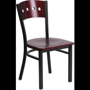 Wholesale HERCULES Series Black 4 Square Back Metal Restaurant Chair - Mahogany Wood Back & Seat