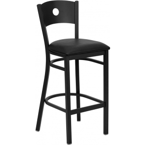Wholesale HERCULES Series Black Circle Back Metal Restaurant Barstool - Black Vinyl Seat