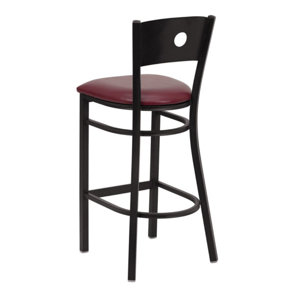 Metal Dining Bar Stool Black Circle Stool-Burg Seat