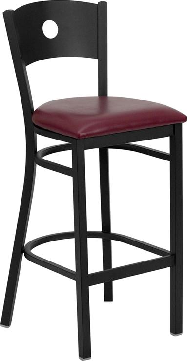 Wholesale HERCULES Series Black Circle Back Metal Restaurant Barstool - Burgundy Vinyl Seat