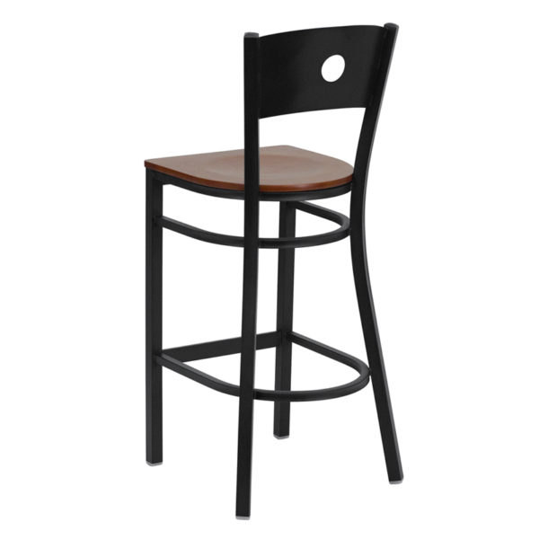 Metal Dining Bar Stool Black Circle Stool-Cherry Seat
