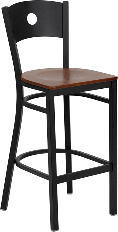 Wholesale HERCULES Series Black Circle Back Metal Restaurant Barstool - Cherry Wood Seat