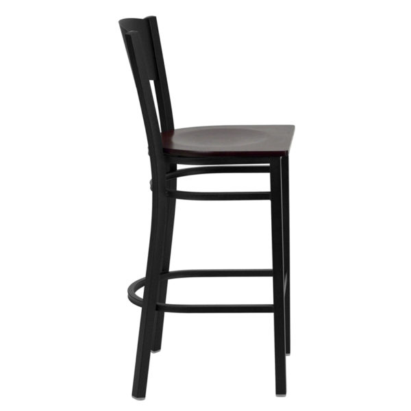Lowest Price HERCULES Series Black Circle Back Metal Restaurant Barstool - Mahogany Wood Seat