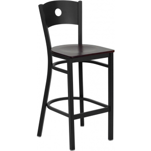 Wholesale HERCULES Series Black Circle Back Metal Restaurant Barstool - Mahogany Wood Seat