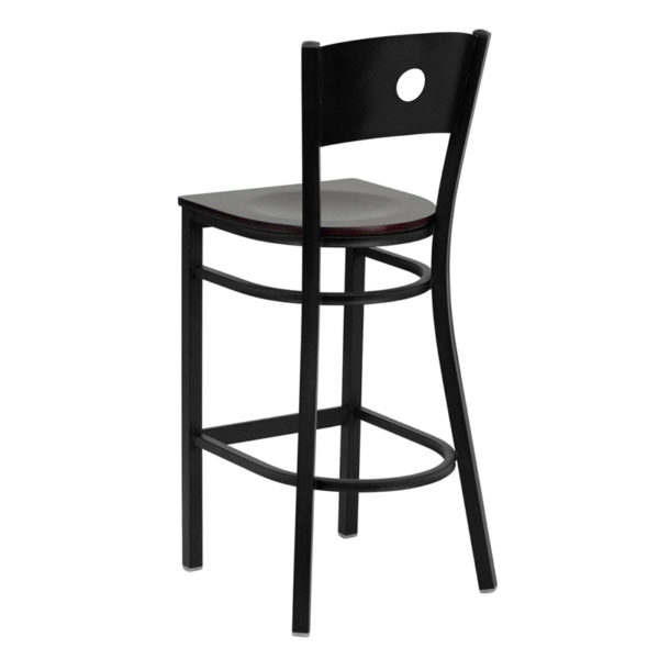 Metal Dining Bar Stool Black Circle Stool-Mah Seat