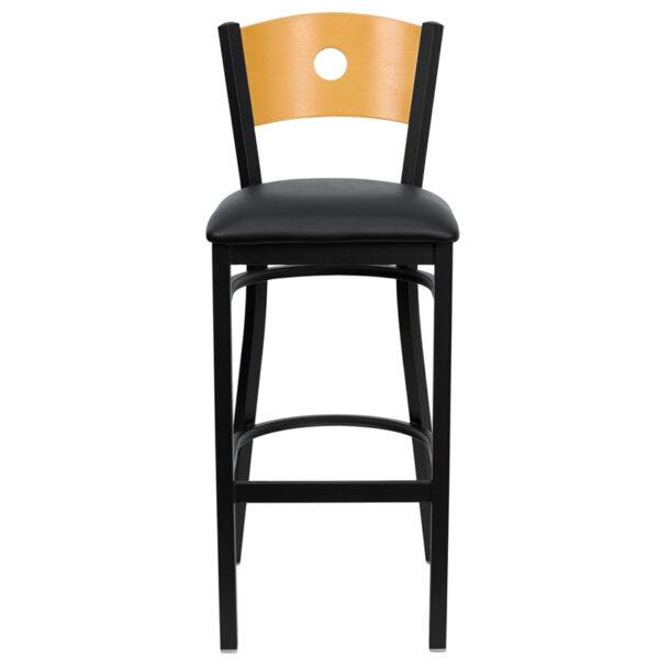Metal Dining Bar Stool Bk/Nat Circle Stool-Black Seat