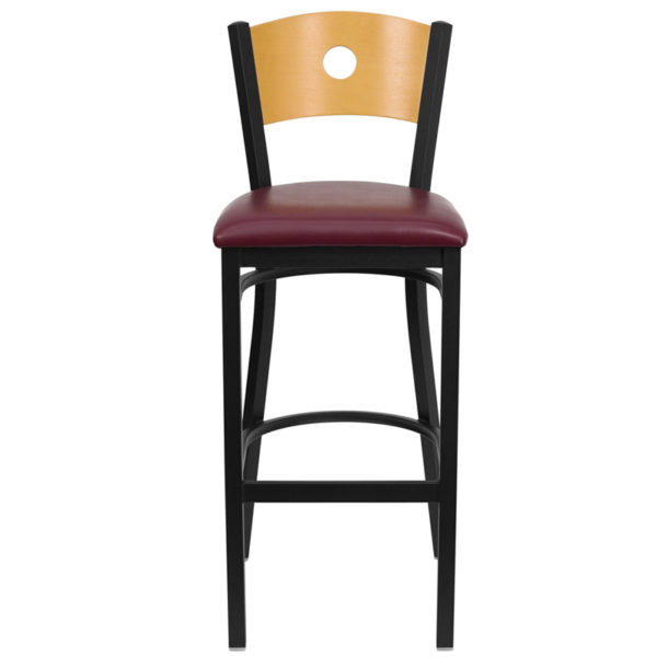 Metal Dining Bar Stool Bk/Nat Circle Stool-Burg Seat