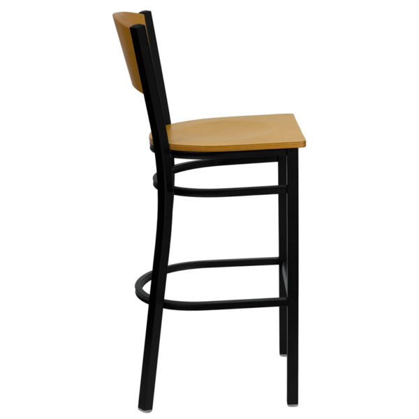 Lowest Price HERCULES Series Black Circle Back Metal Restaurant Barstool - Natural Wood Back & Seat