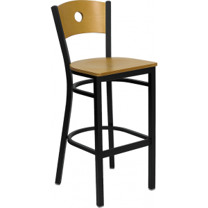 Wholesale HERCULES Series Black Circle Back Metal Restaurant Barstool - Natural Wood Back & Seat