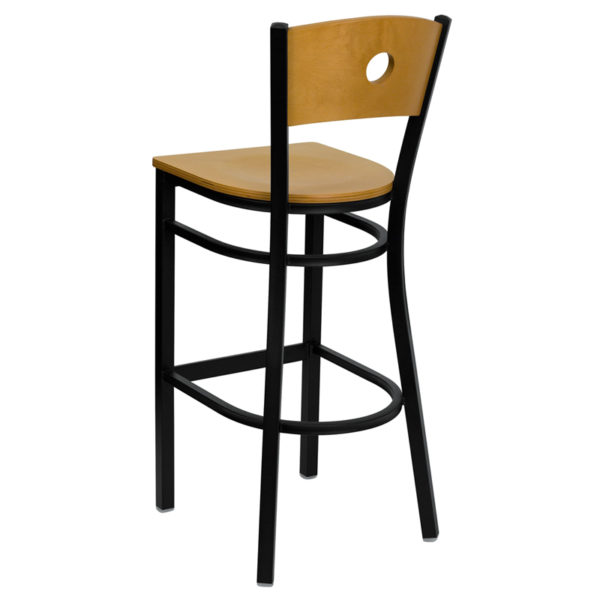 Metal Dining Bar Stool Bk/Nat Circle Stool-Wood Seat