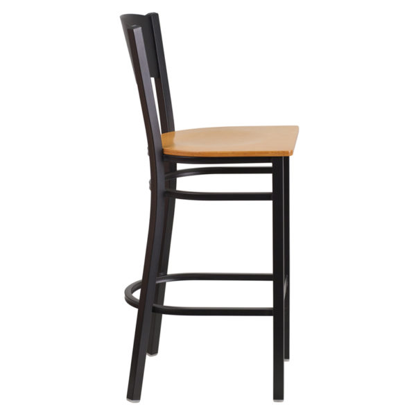 Lowest Price HERCULES Series Black Circle Back Metal Restaurant Barstool - Natural Wood Seat