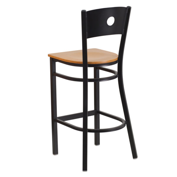Metal Dining Bar Stool Black Circle Stool-Nat Seat